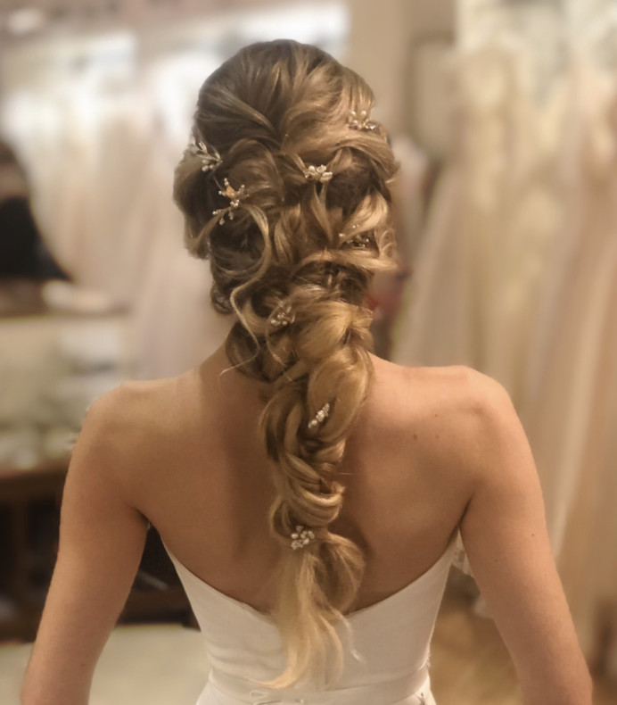 A show-stopping mermaid braid is perfect for adding flowers or hair accessories. - Make Me Bridal Artist: Lee O'D Makeup & Hair. Photography by: Lee O'D. #bridalhair #weddinghair #mermaidbraid #mermaidhair