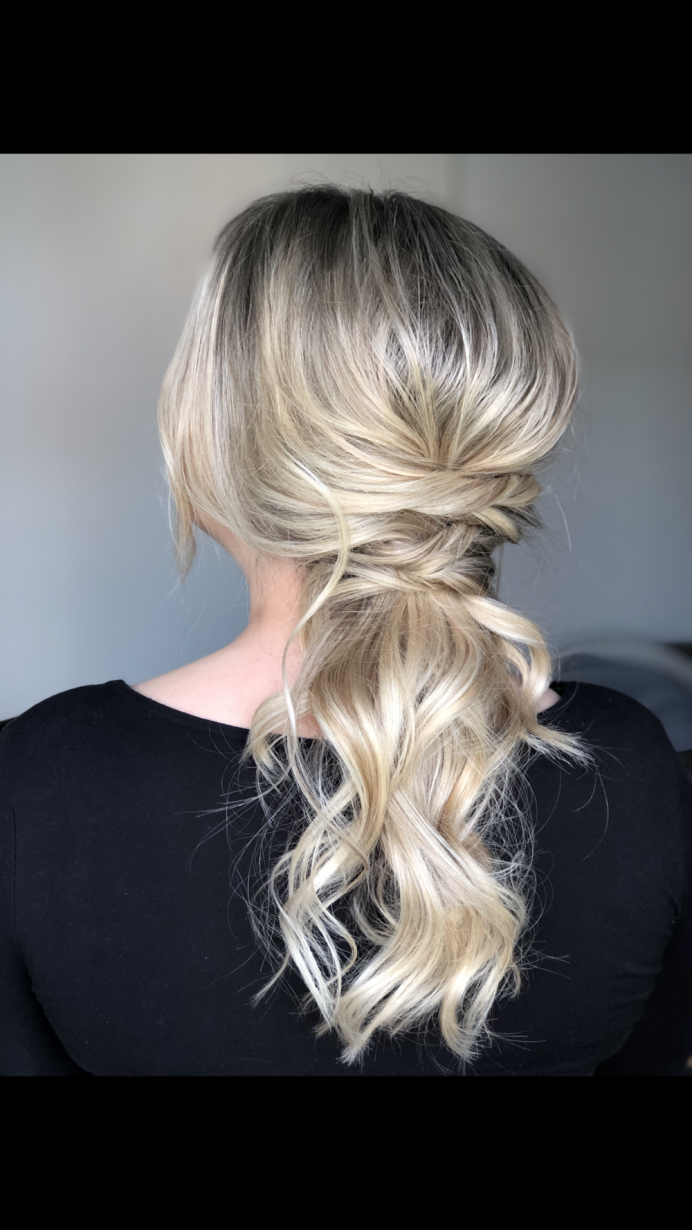 Perfect option for a modern unconventional bride. Stylish and contemporary. - Make Me Bridal Artist: The Boho Bride . #weddinghair #ponytail #weddinghairstylist #bridalpony