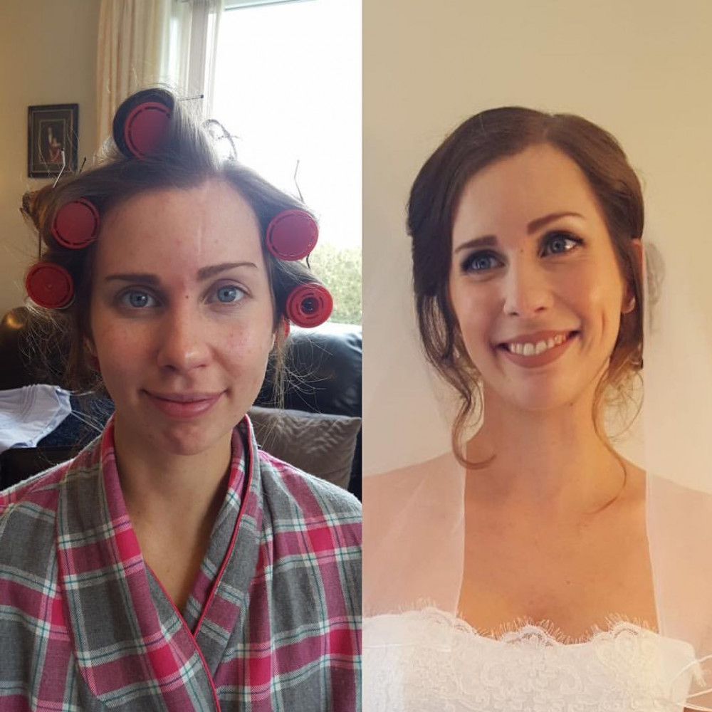 A before and after shot of my stunning bride. I love working so closely and seeing the transformations into a bride. - Make Me Bridal Artist: Kerry Ingham MUA.