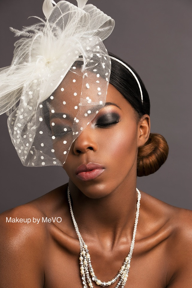 - Make Me Bridal Artist: Makeup by MeVO. Photography by: Arron Dunworth . #glamorous #chignon #brunette #smokeyeyes #smokeyeye #nudelip #highlight #modernbride #definedcheeks #blackbride #highlighter #boldeyes