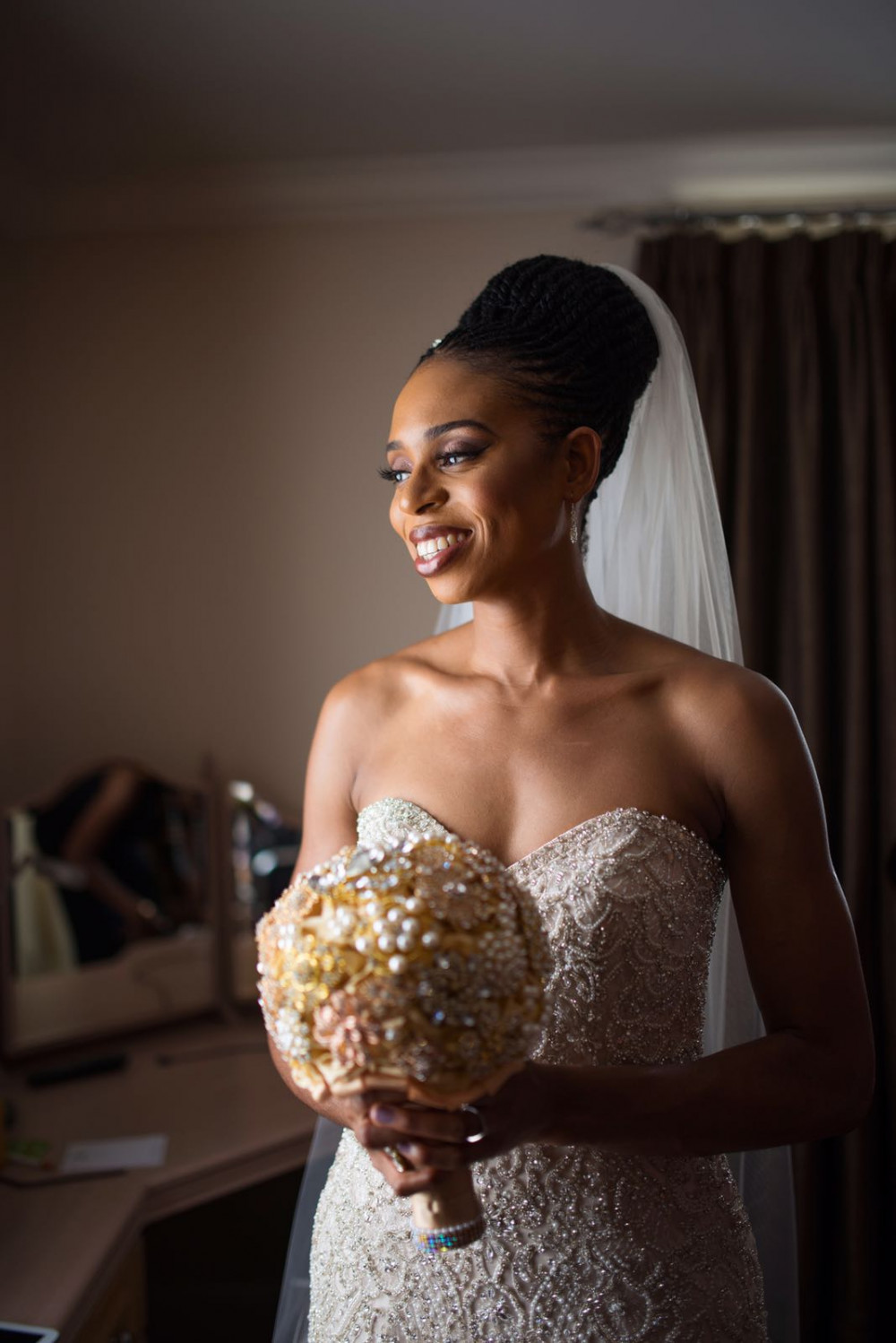 - Make Me Bridal Artist: Makeup by MeVO. Photography by: AffinityQ . #classic #glamorous #bridalmakeup #updo #glowingskin #blackbride #timelessbeauty