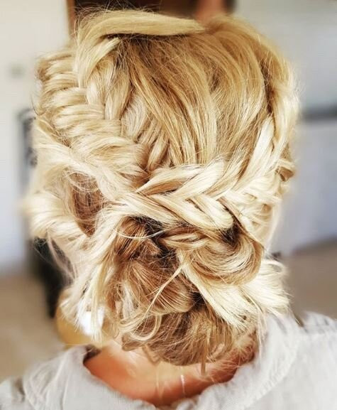 - Make Me Bridal Artist: Toni Searle Beauty. Photography by: Toni Searle. #bridalhair #fishtailbraid #bohobride #texturedupdo #veganbride #bohohair #bridalbun
