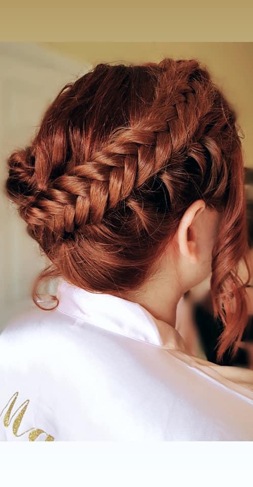 Fishtail crown braid - Make Me Bridal Artist: Toni Searle Beauty. Photography by: Toni Searle. #boho #bridalhair #fishtailbraid #bridesmaidhair #bohobride #bohowedding #fishtail #crownbraid #halobraid #bohohair #redhair #veganbride #crueltyfreebride #braidcrown