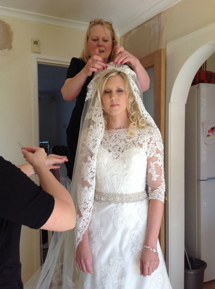 Final Touches - Make Me Bridal Artist: Susan Hunter Bridal Hair & Makeup. Photography by: Own picture .