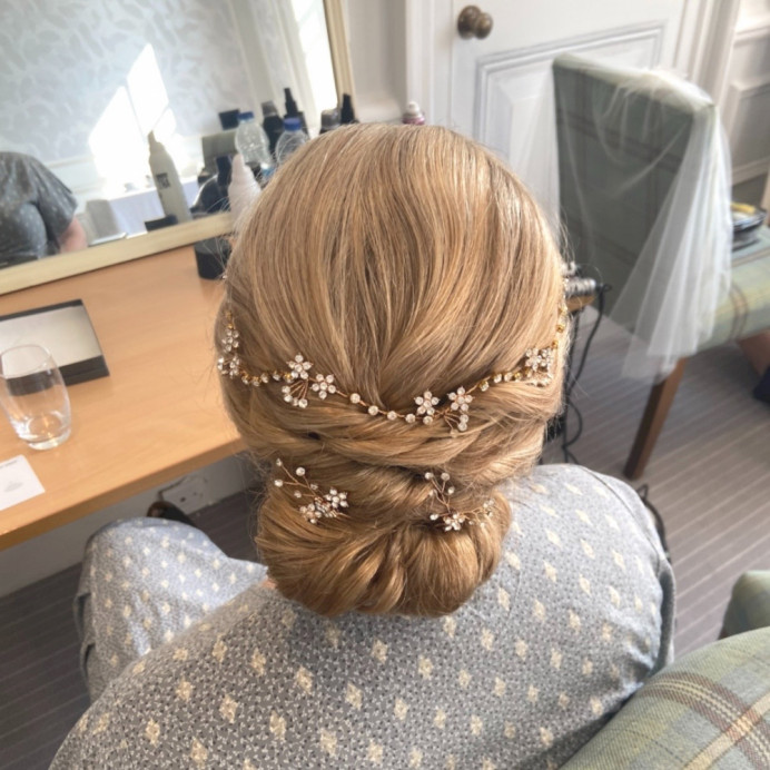 Modern smooth updo - Make Me Bridal Artist: Jessica Makeup and Hairstyling. #updo #bridalhair #relaxedhairup #surreymakeupartist #modernbride #hampshiremakeupartist #hampshirehair #surreyhair