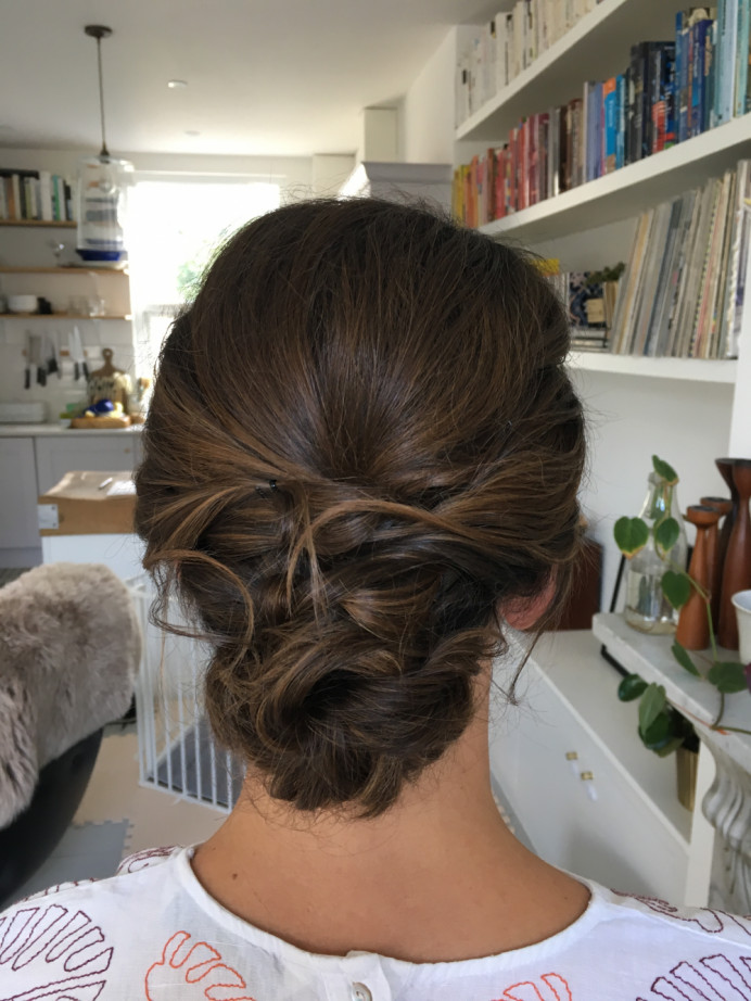 Chic chignon - Make Me Bridal Artist: Jessica Makeup and Hairstyling. #bohemian #classic #glamorous #boho #curls #bridalhair #smoothcurls