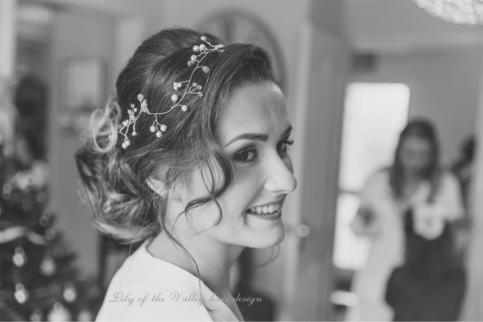 - Make Me Bridal Artist: Lily of the Valley hair design. Photography by: Gareth Beynon. #boho #hairvine #gettingready #bridalhair #lowupdo