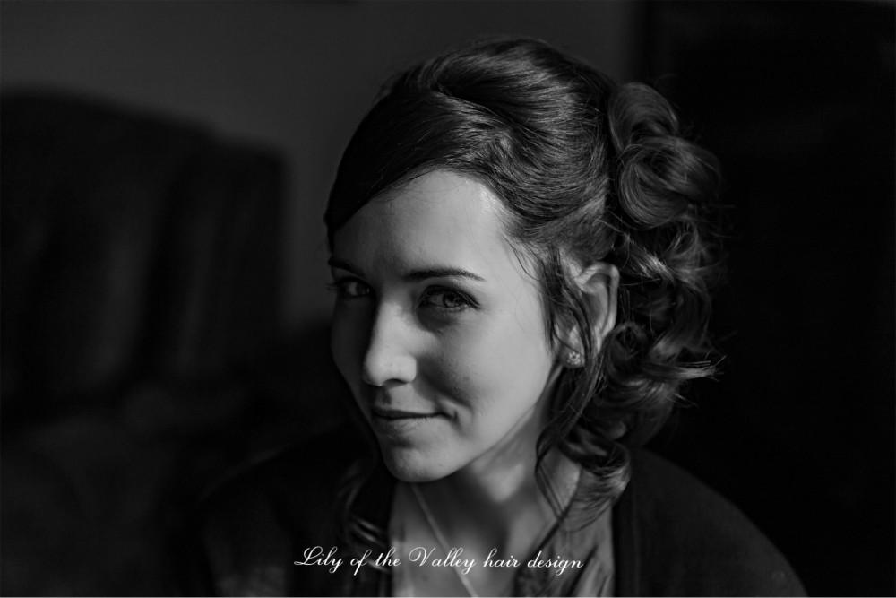 - Make Me Bridal Artist: Lily of the Valley hair design. Photography by: Gareth Beynon. #weddingmorning #brunette #bridesmaidhair #hairup #beauty