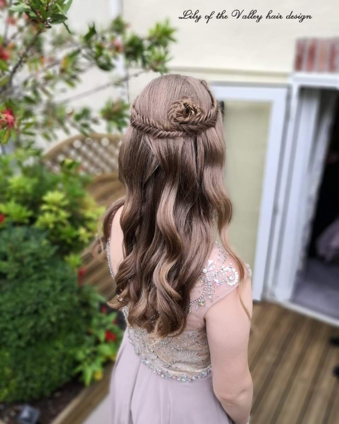 - Make Me Bridal Artist: Lily of the Valley hair design. #soft #elegant #pretty #bridesmaidhair #fishtailbraid #braids #bridalhairstylist #loosecurls #waves #bridesmaid