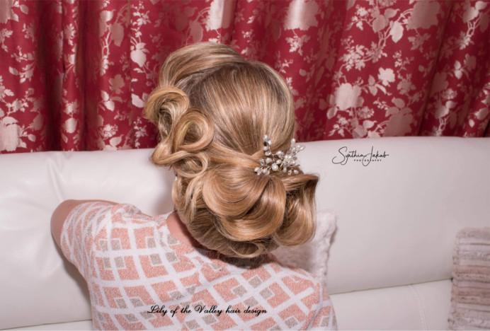 - Make Me Bridal Artist: Lily of the Valley hair design. Photography by: Synthia Jakab. #vintage #glamorous #blonde #bridalhair #elegant #lowupdo #weddinghair #bridalhairstylist #photoshoot #motherofthebride #bighair
