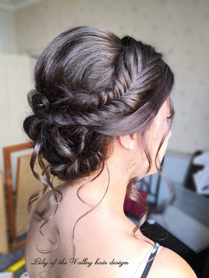 - Make Me Bridal Artist: Lily of the Valley hair design. #bohemian #bridalhair #brunette #romantichairup #braidedupdo #weddinghair #fishtailbraid #bridalhairstylist #plaits #beauty