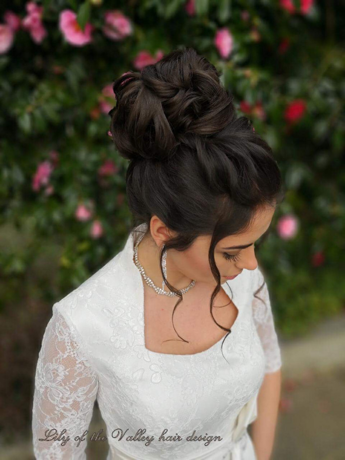 - Make Me Bridal Artist: Lily of the Valley hair design. #classic #bridalhair #updo #elegant #brunette #highbun #bridalhairstylist #vintage #beauty #bride #weddinghair