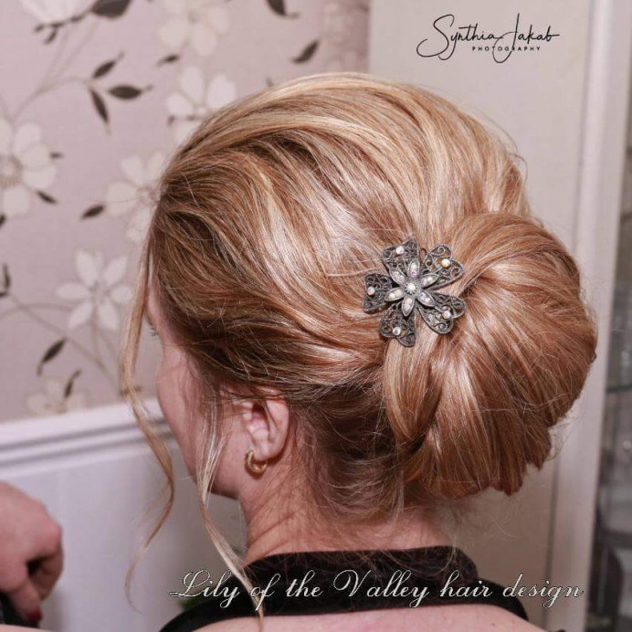 - Make Me Bridal Artist: Lily of the Valley hair design. #classic #blonde #chignon #elegant #weddinghair #bridalhairstylist #photoshoot #motherofthebride