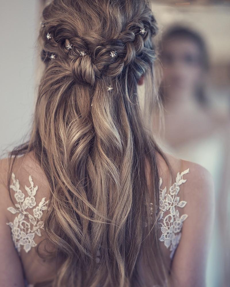 Venue: Warbrook house  Dress: Tillymint weddings Accessories: Wilde Bride Hair & Makeup: me - Make Me Bridal Artist: Melissa Clare Makeup & Hair. Photography by: Natalia d'ark. #bohemian #halfuphair #stars #braids #plaits