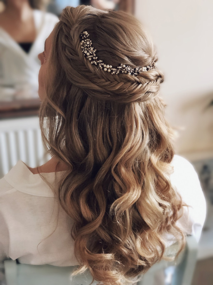 - Make Me Bridal Artist: Melissa Clare Makeup & Hair. #bohemian #halfuphair #fishtailbraid #bohobride #hairvine