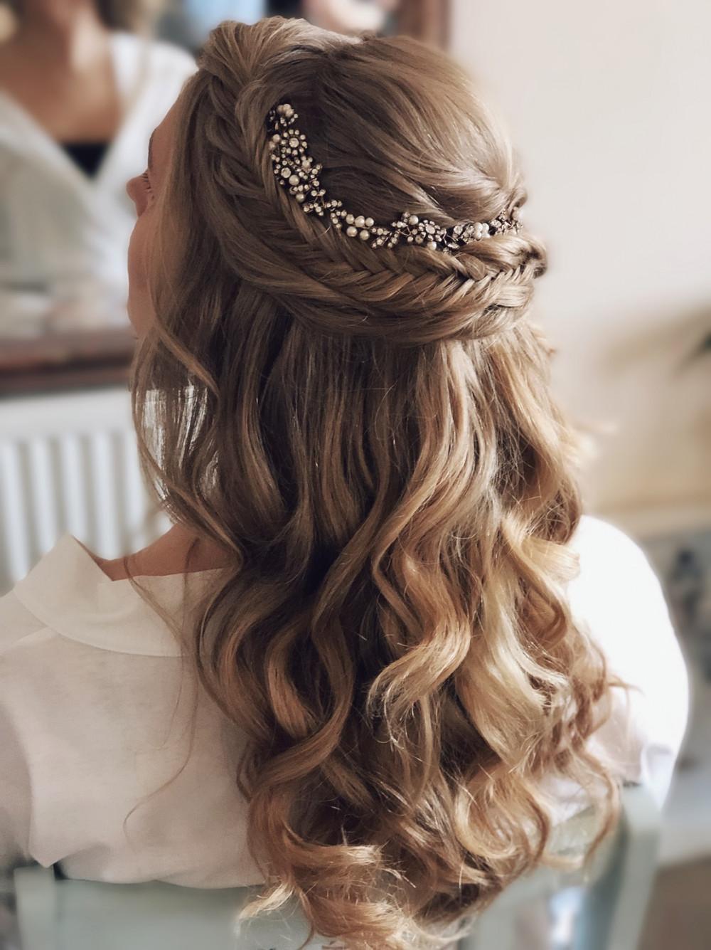 - Make Me Bridal Artist: Melissa Clare Makeup & Hair. #bohemian #halfuphair #fishtailbraid #bohobride #hairvine