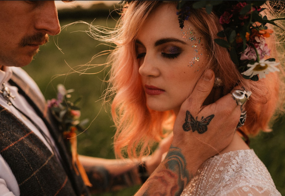 Styled shoot for Festival/Boho bride inspiration featured on the Magpie wedding blog. Take a look here https://www.magpiewedding.com/2019/09/18/boho-festival-wedding/ - Make Me Bridal Artist: Nicola Whitfield MUA. Photography by: James Morris. #bohemian #glitter #festivalstyle #festivalmakeup #festivalwedding