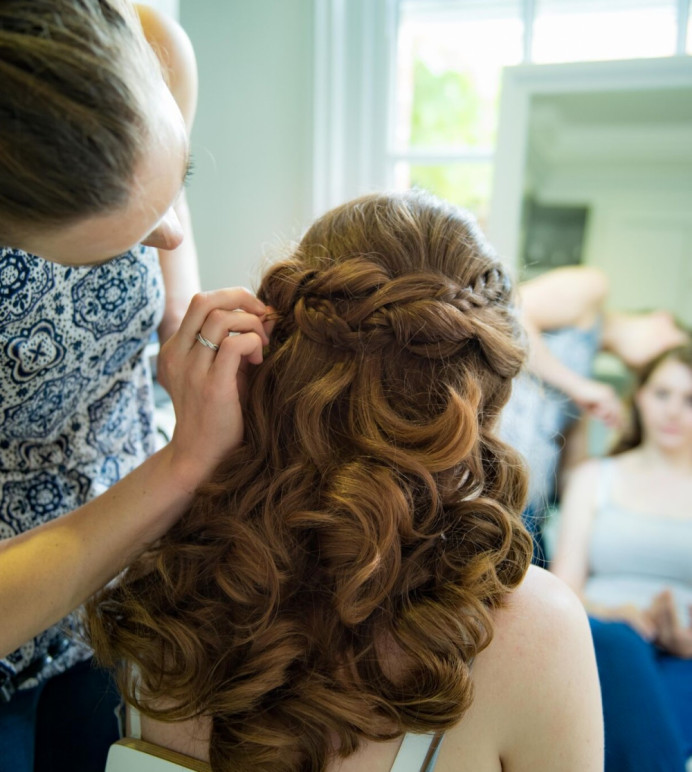 Bridal Make-up and Hair by Alice Porter Make-up and Hair Artist - Make Me Bridal Artist: Alice Porter Make-up & Hair. #halfuphair #braid #bridalhair #curlyhair #voluminoushair