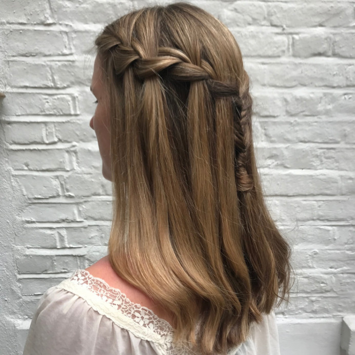 Waterfall plait for bridesmaids - Make Me Bridal Artist: Kat Sykes. #braid #bridesmaid #bridesmaidhair #halfuphair #plait #waterfallplait