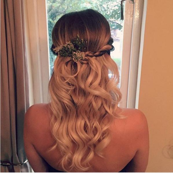 - Make Me Bridal Artist: Kat Sykes. #curls #bridalhair #bridesmaidhair #waves #halfuphair #twistedupdo #freshflowers