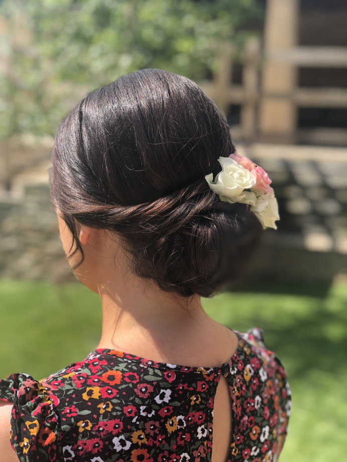 Bridesmaids hair up with fresh flower placement - Make Me Bridal Artist: The studio effect .