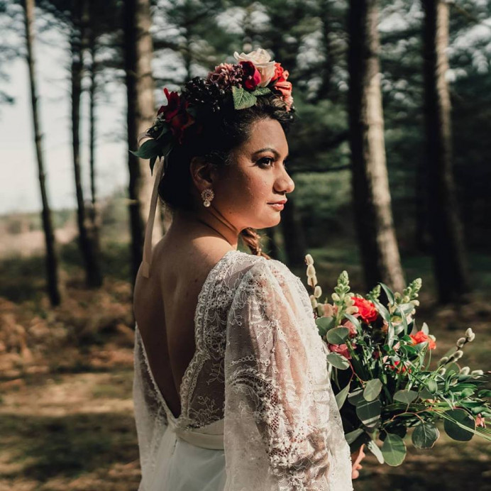 A gorgeous image from a recent styled shoot. The theme was a boho elopement. - Make Me Bridal Artist: Jenna Dale Makeup Artist. Photography by: Leesha Williams. #bohemian #elopement #floral #forest