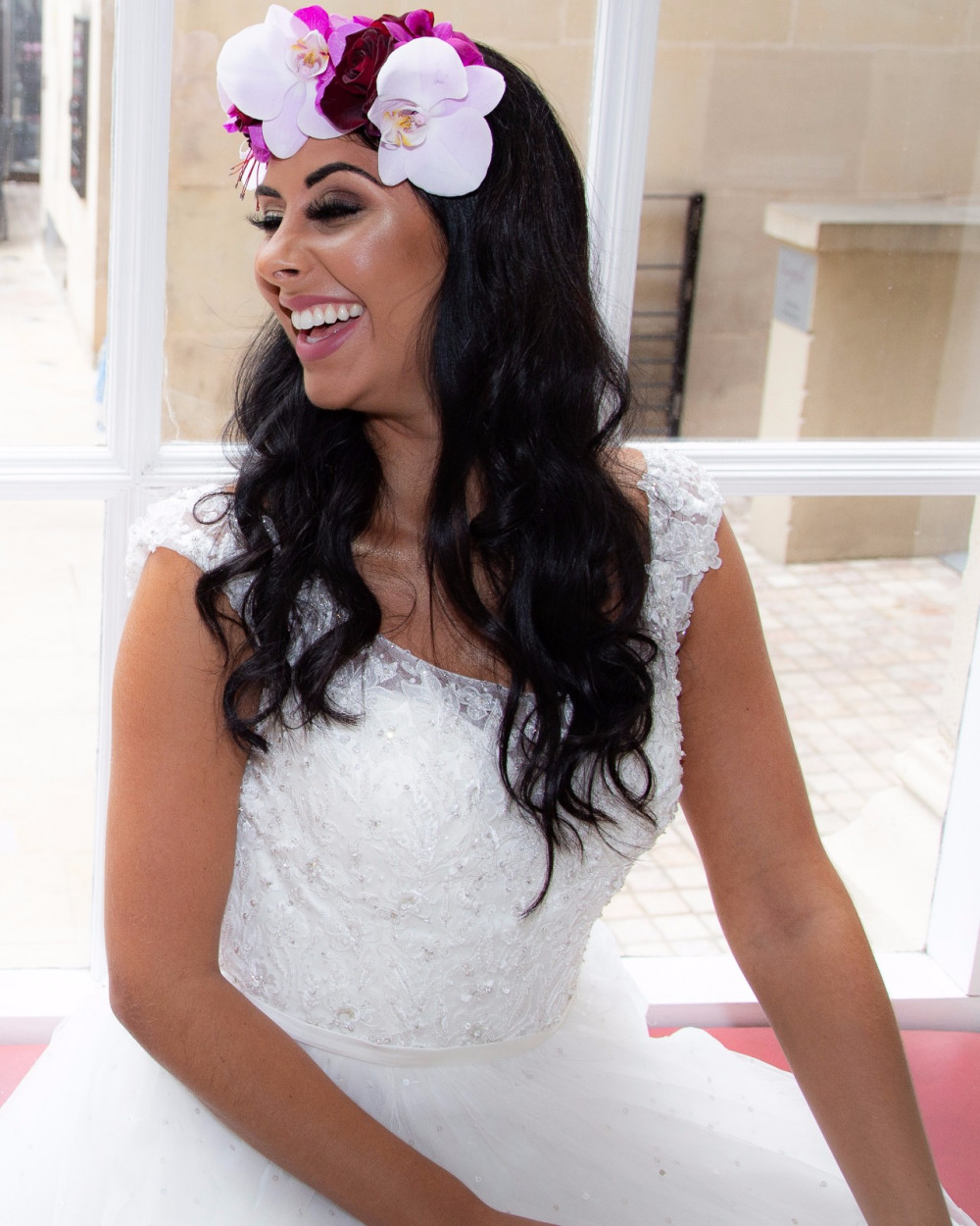 The prettiest thing a girl can wear is her smile x - Make Me Bridal Artist: Amy Collins Makeup Artist . Photography by: Rhian Grayson. #glamorous #flowercrown #nars #weddinginspo #mac