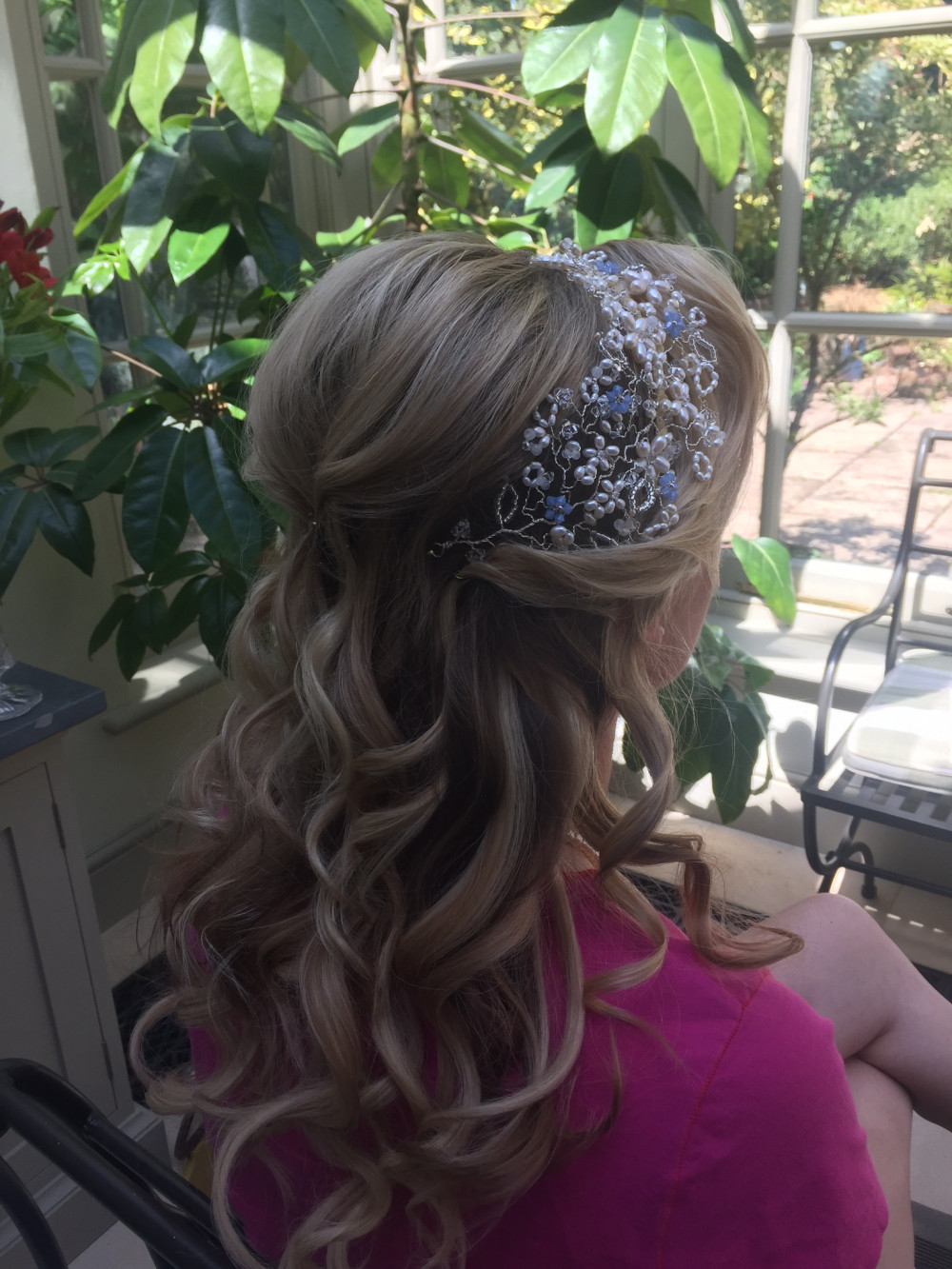 Soft loose romantic curls with a gorgeous head piece. - Make Me Bridal Artist: Lolo & Co.. #halfuphair #hairvine #bridalhair