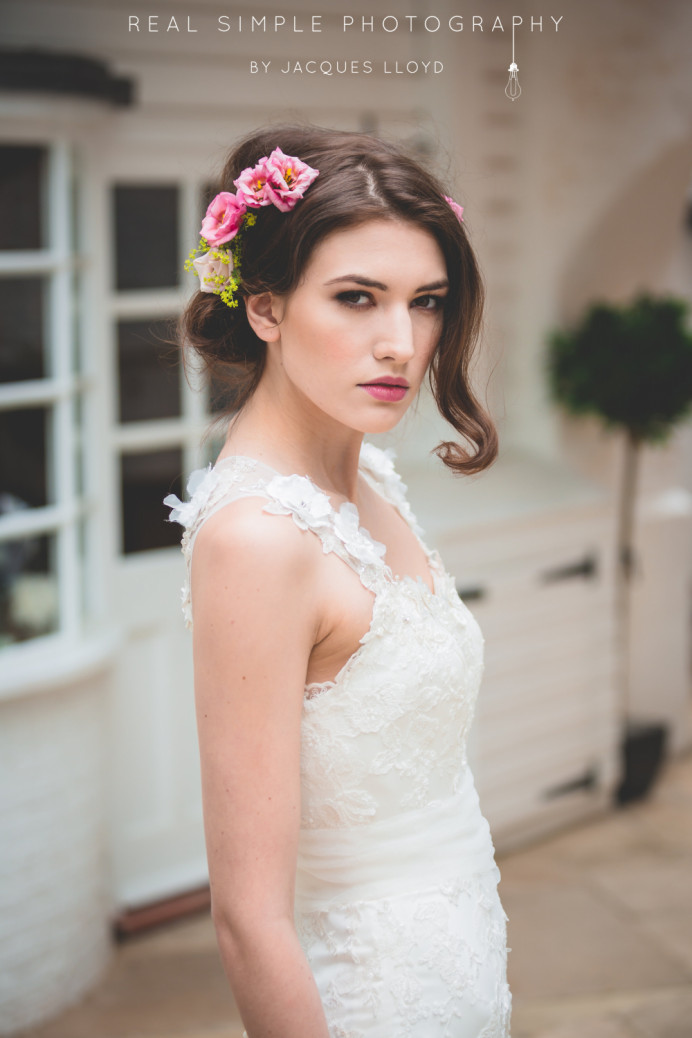 - Make Me Bridal Artist: Lolo & Co.. Photography by: Jacques Lloyd. #vintage #boho #flowercrown #roses #bridalmakeup #flowersinherhair #soft #rustic #fresh #braidedupdo #weddinghair