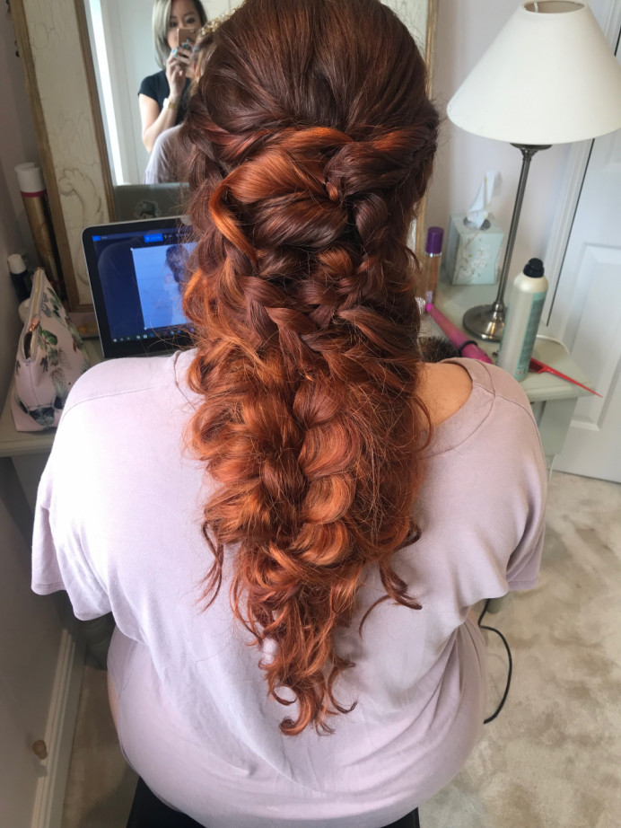 Long hair, boho style with added extensions and pulled out plaits. - Make Me Bridal Artist: Lolo & Co.. #bohemian #boho #redhead #hairextensions