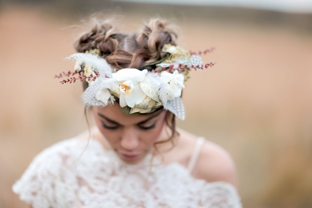 Bridal Flower Crown for a Bohemian Wedding - Make Me Bridal Artist: Wild Rose Hair . Photography by: Rebecca Searle . #bohemian #boho #flowercrown #bridalhair