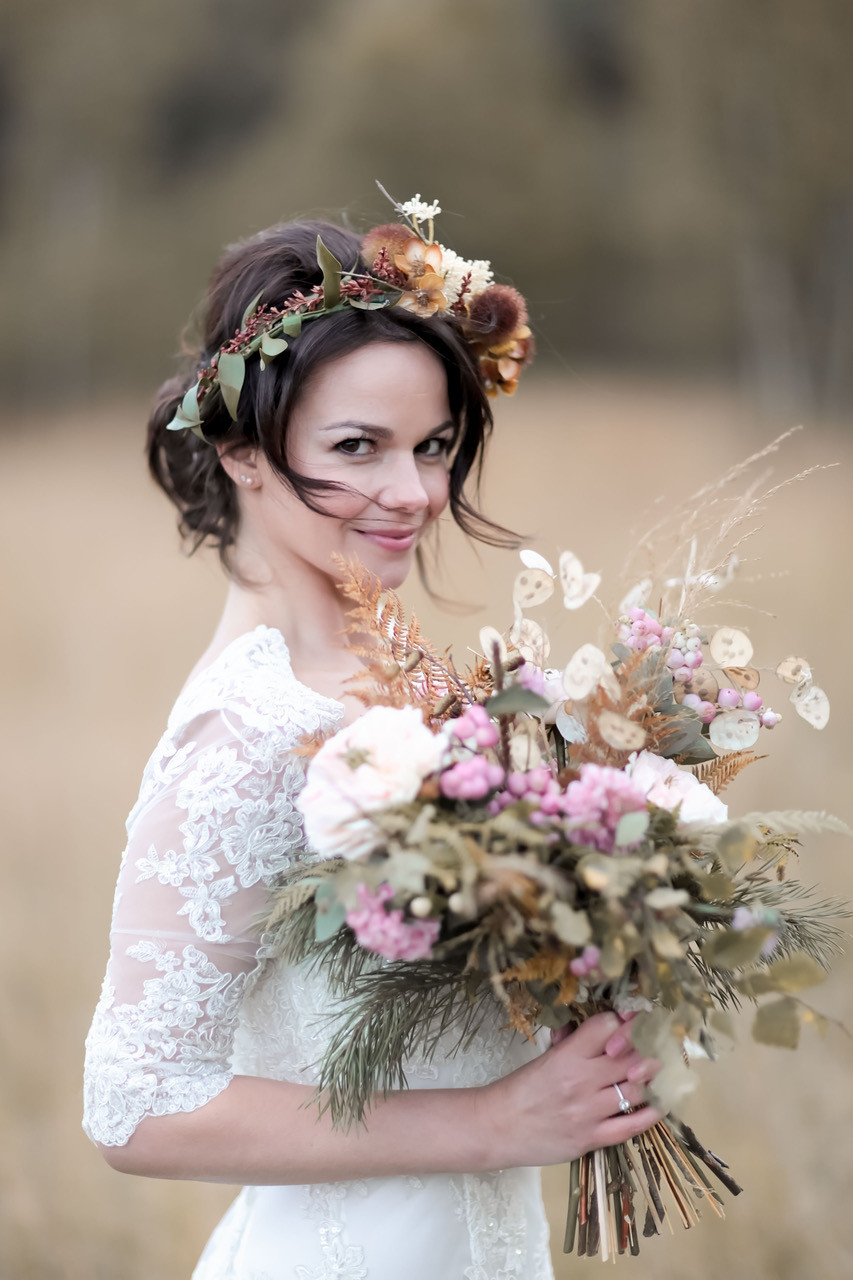 Bridal Flower Crown with autumnal colours. Low hair up - Make Me Bridal Artist: Wild Rose Hair . Photography by: Rebecca Searle . #bohemian #boho #flowercrown #bridalhair #lowupdo