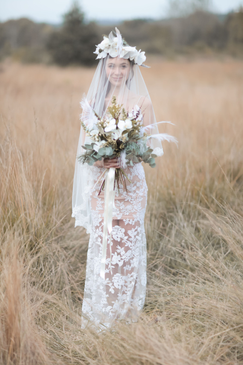 A showstopper floral hair crown. For the bohemian bride - Make Me Bridal Artist: Wild Rose Hair . Photography by: Rebecca Searle photography. #bohemian #flowercrown #bridalhair #flowersinherhair #updo