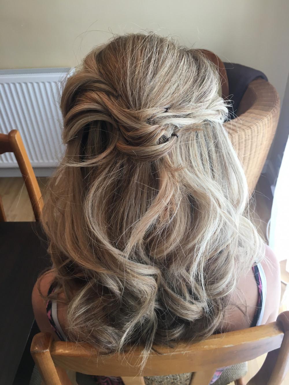 Half up style with waves - Make Me Bridal Artist: Wild Rose Hair . #halfuphair #curls #blonde #relaxedupdo