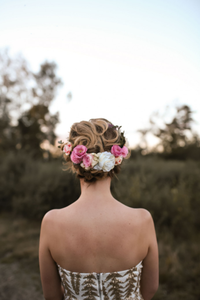 Beautiful fresh flower crown worn with hair up - Make Me Bridal Artist: Wild Rose Hair . Photography by: Rebecca Searle . #bohemian #flowercrown #bridalhair