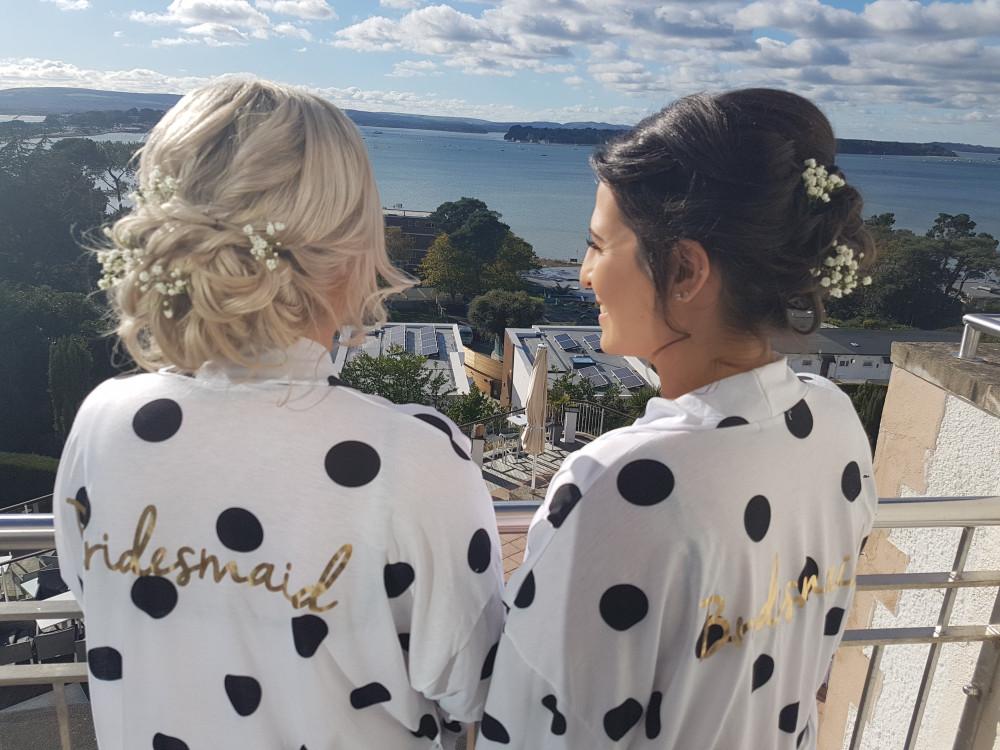 Two beautiful bridesmaids - Make Me Bridal Artist: Victorianightingalehair. #classichair #hairup #bridesmaidshair #bridesmaids