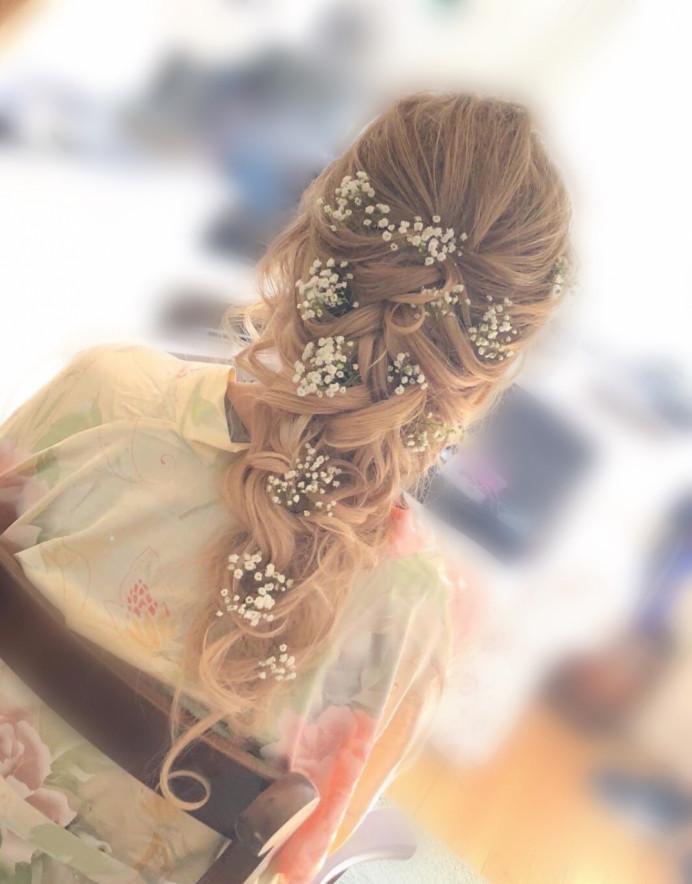Hair by CJ @CJ Directors Package - Make Me Bridal Artist: CJ Beauty & Co. #boho #bohemian #gypsophila #flowersinherhair #bridalhair #outdoorwedding #barnweddings