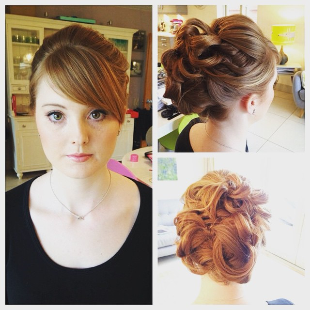 During this bridal trial we played around with high loops and defined detail at the back. On the wedding day she wore gypsophila in her hair, which was a beautiful contrast to her auburn hair. - Make Me Bridal Artist: Beckie Welfare Hair & Makeup.