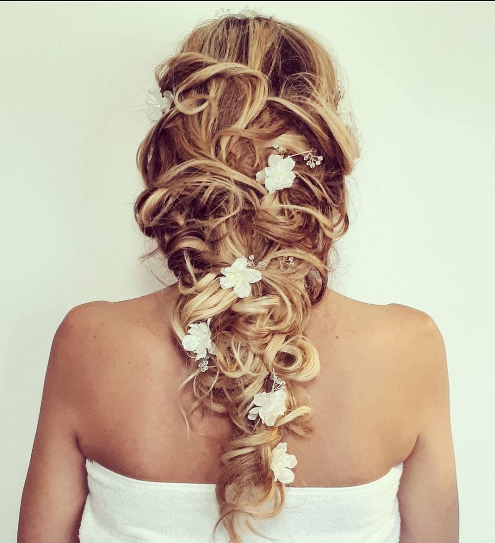 Braid ! Soft textured look perfect for the natural,rustic,modern,romantic bride finished off with a beautiful flower vine - Make Me Bridal Artist: Bridal hair by Jennie . Photography by: Bridal hair by Jennie . #boho