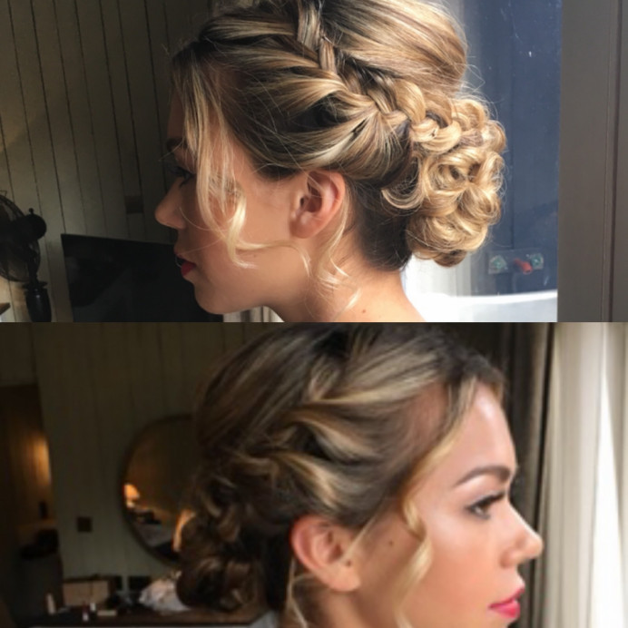 Beautiful chignon with braids and lashes and red lip for vintage twist - Make Me Bridal Artist: Jules Makeup Artistry and Hair Design . Photography by: Julie Podbery. #classic #vintage #glamorous #cotswoldswedding