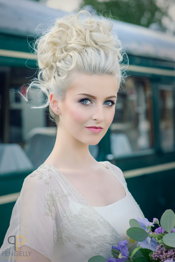 Statement 'up do' for Amber, Soft and Romantic - Make Me Bridal Artist: Beautiful Hair 4 Weddings. Photography by: Kevin Pengelly. #classic #boho #curls #blonde #bridalhair #pretty