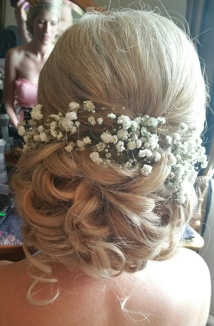 Rachel's soft low curly chignon at Woodhall Manor - Make Me Bridal Artist: Beautiful Hair 4 Weddings. Photography by: myself. #boho #curls #blonde #gypsophila #weddingmorning #gettingready