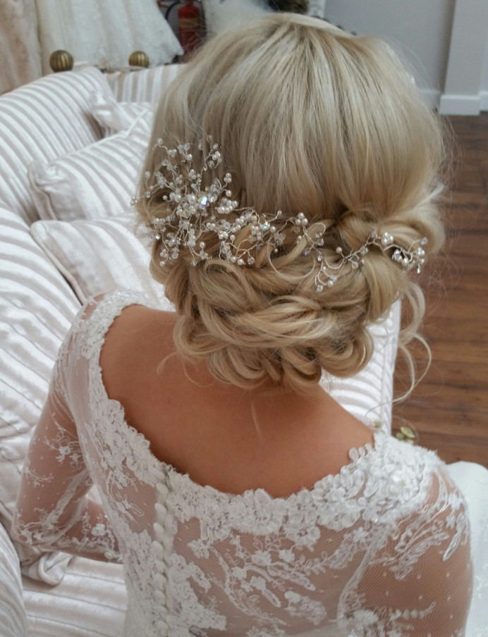 Boho chic for Lauren at Hutton Hall - Make Me Bridal Artist: Beautiful Hair 4 Weddings. Photography by: Myself. #boho #blonde #hairvine #bridalhair #bohemian