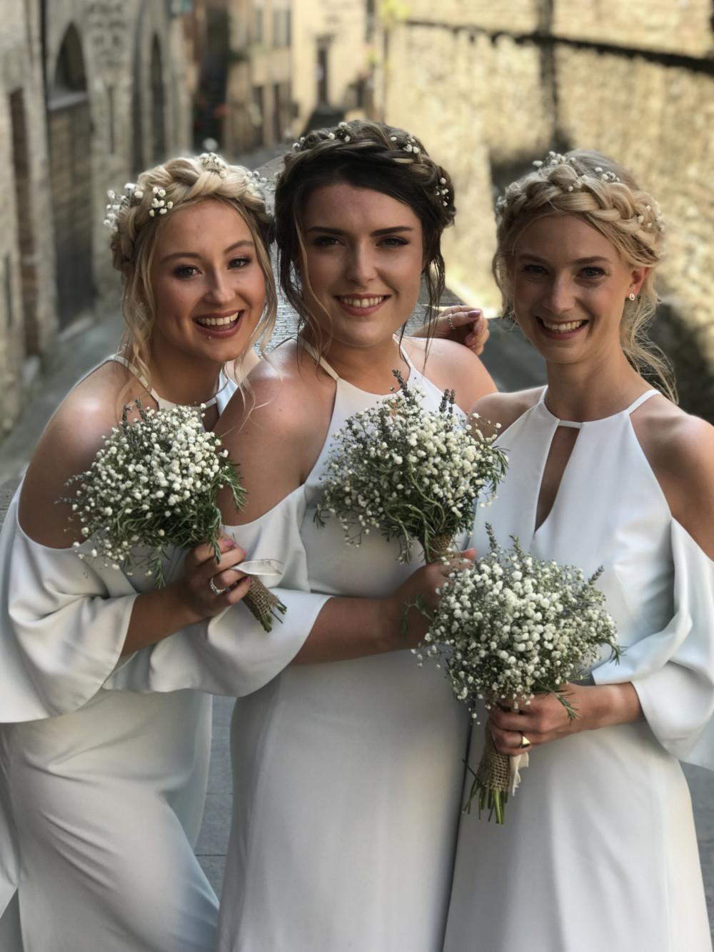 Gorgeous bridesmaids at destination wedding in Umbria Italy - Make Me Bridal Artist: Beautiful Hair 4 Weddings. Photography by: Myself. #boho #bridesmaidhair #milkmaidbraids #destinationwedding