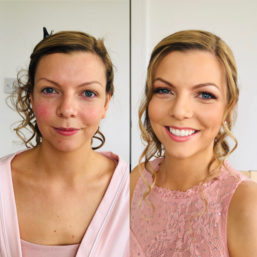 Before and after pic of this beautiful bride at Gosfield Hall, Essex. She wanted a natural, glowing and flawless look to compliment her style - Make Me Bridal Artist: Leanne Perilly Make-up Artist. #naturalmakeup #bridalmakeupartist #beautifulbridalmakeup #naturalweddingmakeup #forthenaturalbride #beforeandafter #bridalmakeupartistessex