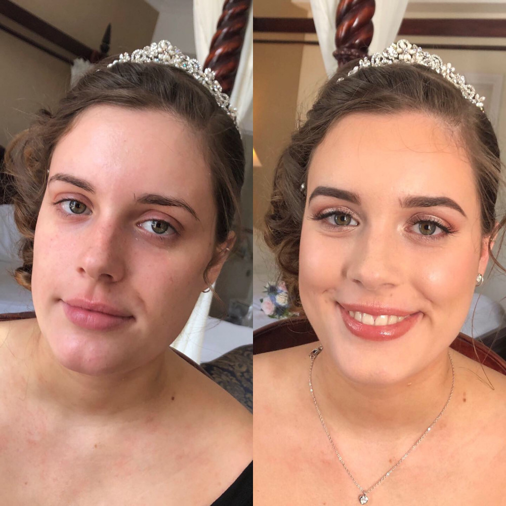 Before and after pics of Bridesmaid Lucy - Make Me Bridal Artist: Leanne Perilly Make-up Artist. #bridalmakeup #bridesmaid #naturalmakeup #naturalweddingmakeup #forthenaturalbride #beforeandafter