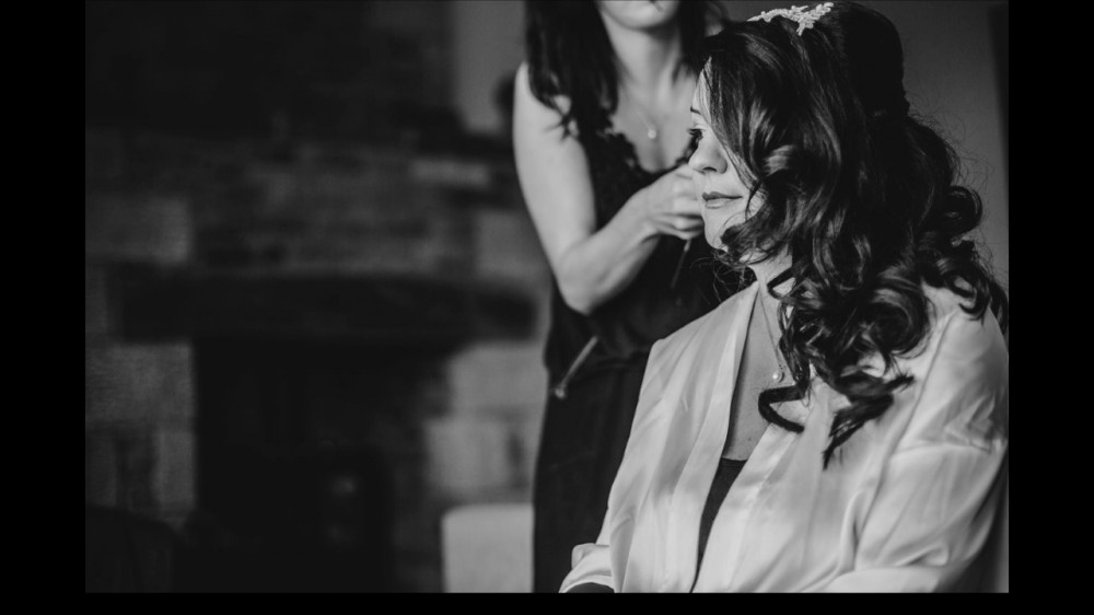 How calm is this bride? She did have a beautiful view over the Broughton Estate in the Yorkshire Dales though. - Make Me Bridal Artist: Hair by Louise Rhodes. Photography by: James and Lianne Photography. #classic #curls #weddingmorning #brideshair #deepinthought