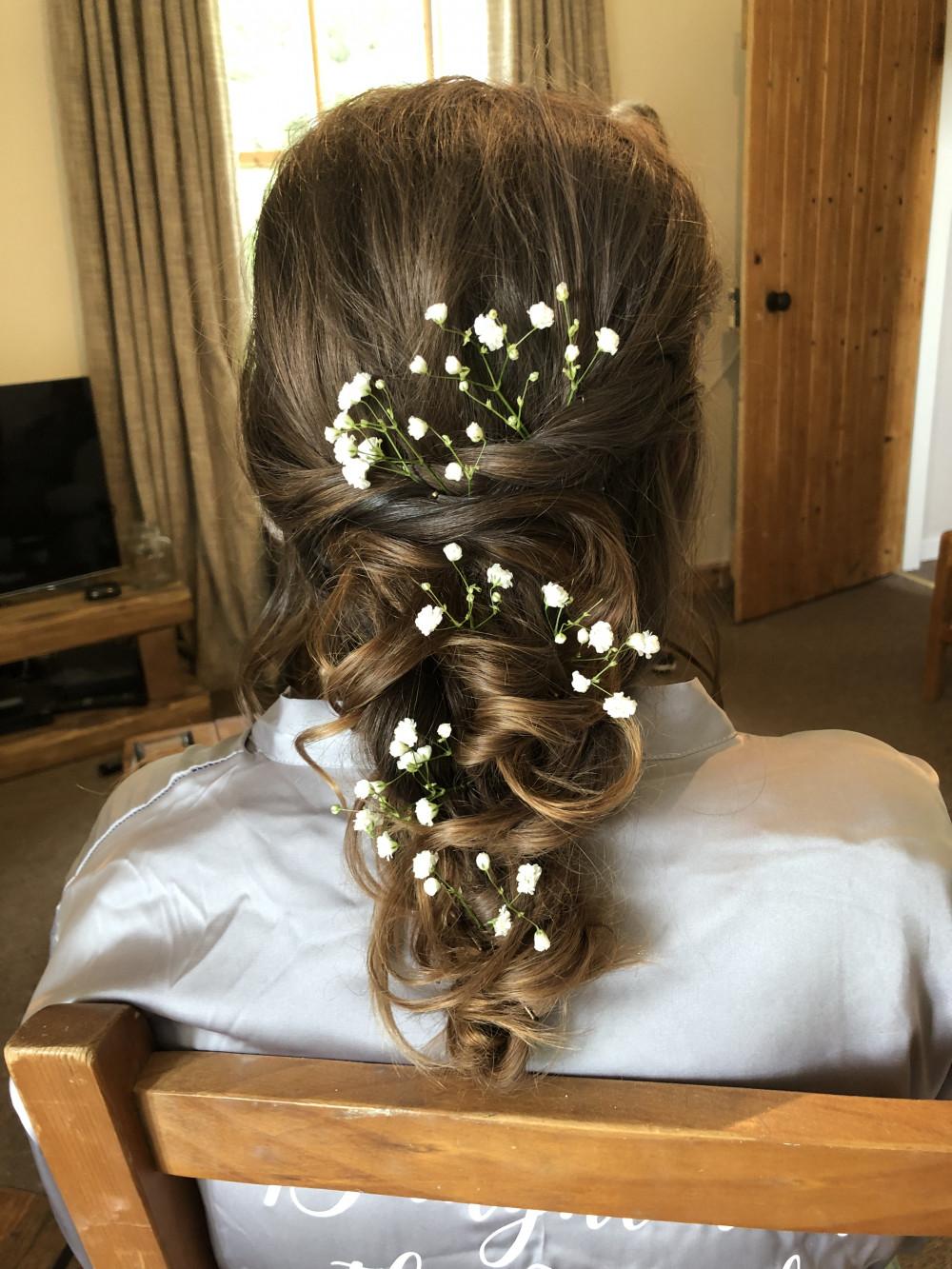Boho inspired half up half down style finished with Baby's Breath - Make Me Bridal Artist: Sarah Clarke Makeup Artist . #bohemian #halfuphair #gypsophila #bridalhair #flowersinherhair #bohobride