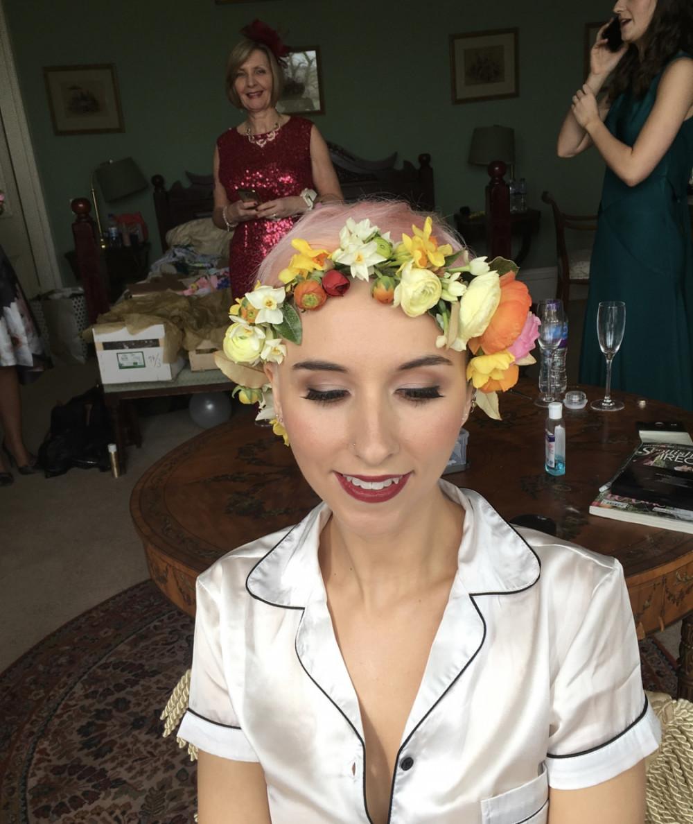 Stunning Bridal Makeup & Hair by me incorporating a beautiful, colourful flower crown - Make Me Bridal Artist: Sarah Clarke Makeup Artist . #boho #flowercrown #bridalhair #redlip #scottishwedding #bridal #perthshire