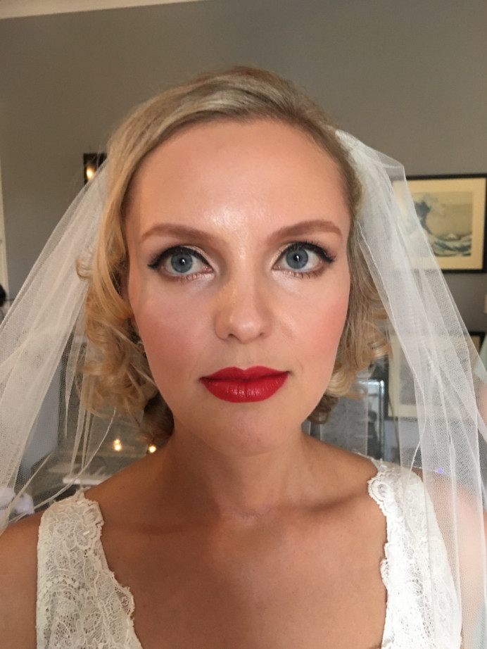 My client wanted a Hollywood glam look and requested red lips it really did suit her and enjoyed creating the makeup and Hollywood curls . - Make Me Bridal Artist: RLM wedding makeup. Photography by: Rebecca Louise Middleton. #vintage